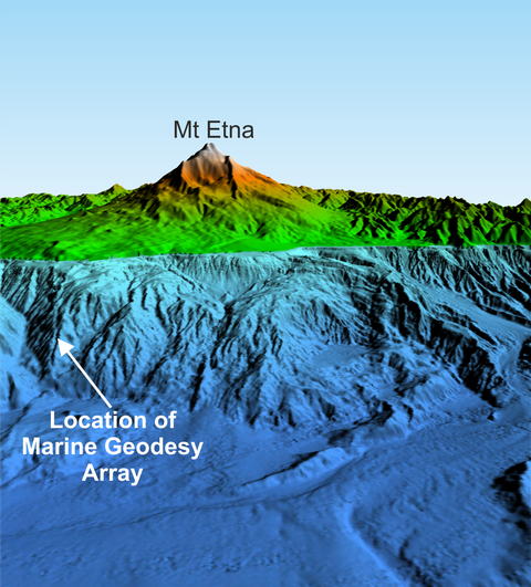 Bathymetry and Topography of Mt Etna and the continental margin (Source: Felix Gross, CAU Kiel).