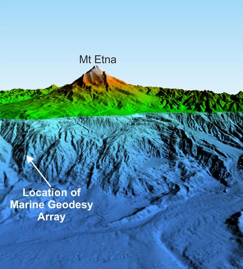 Bathymetrie und Topographie am Ätna und dessen Kontinentalhang (Quelle: Felix Gross).