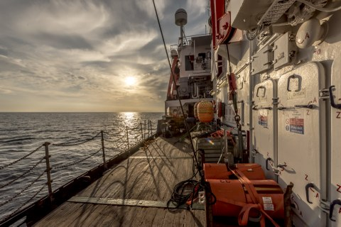 Ocean Bottom Seismometers (OBS) onboard of RV POSEIDON during cruise POS496 (Source: Felix Gross, CAU Kiel).