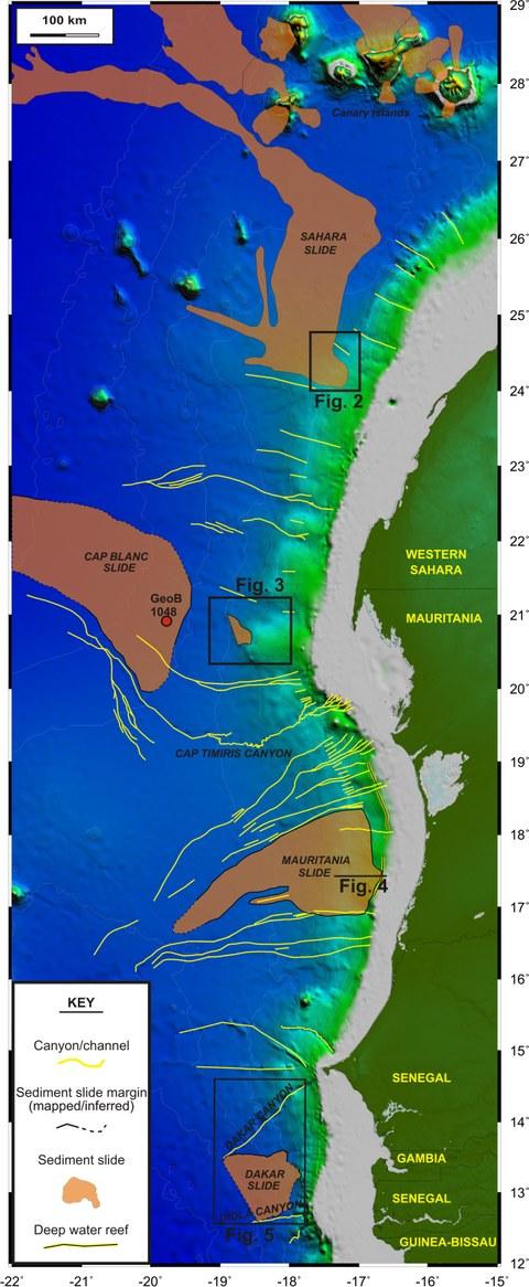 Übersicht der Rutschungen vor der Küste NW-Afrikas.